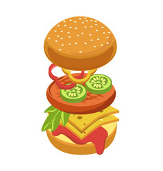 cheeseburger or hamburger ingredients constructor vector image