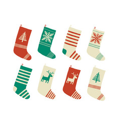 christmas stockings various traditional colorful vector image
