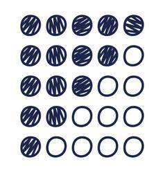 circle rating icons a hand drawn dot icons vector image