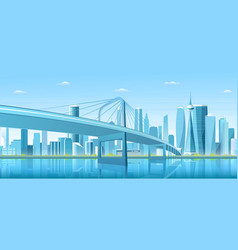 City bridge over water bay vector