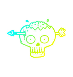 Cold gradient line drawing cartoon skull with vector