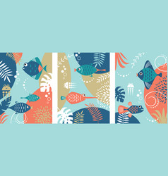 collection abstract background with fishes vector image
