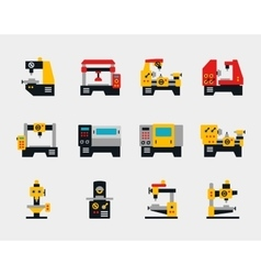Conveyor units and machines flat icons vector