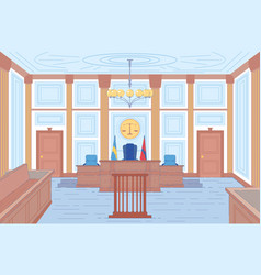 Courthouse hall or trial room interior background vector