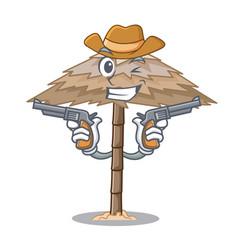 Cowboy beach shelter buildings with palm cartoon vector