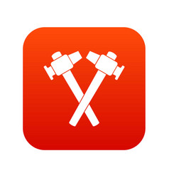 Crossed blacksmith hammer icon digital red vector