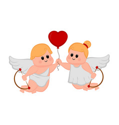cupid couple with a heart shape balloon vector image