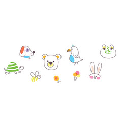 Cute animal pets icons doodle vector
