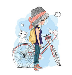 Cute girl with bicycle hand draw vector