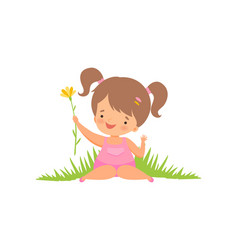 cute happy girl on green meadow adorable little vector image