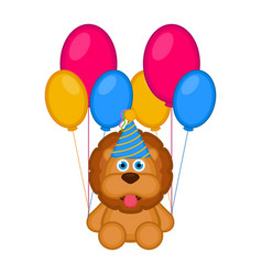 cute lion with a party hat and balloons vector image