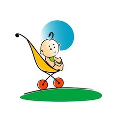 Cute little basitting in a stroller vector
