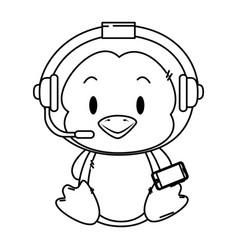 Cute little penguin character vector
