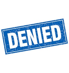 Denied blue square grunge stamp on white vector