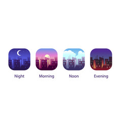 Different times day night morning noon vector