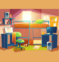 Dorm room with furniture vector