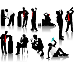 drinking men silhouettes vector image