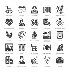 Elderly care flat glyph icons nursing home vector