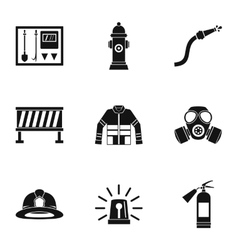 Fiery profession icons set simple style vector image