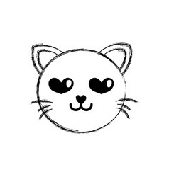 figure enamored cat head cute animal vector image