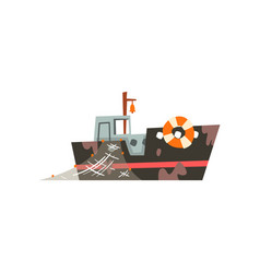 Fishing boat with net industrial trawler for vector