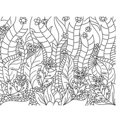 Floral lined artistically scene vector