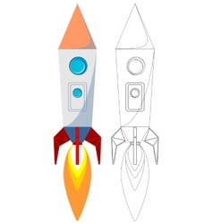 Flying Rocket with Illyuminotor and Flames from vector image