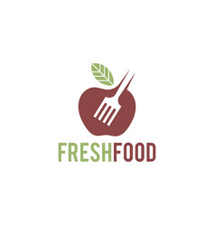 fresh food logo template organic food logo vector image
