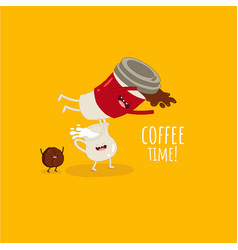funny image cup coffee with milk and coffee vector image