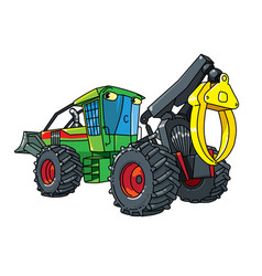 Funny skidder car with eyes forestry machinery vector