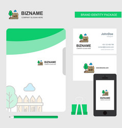 garden business logo file cover visiting card and vector image