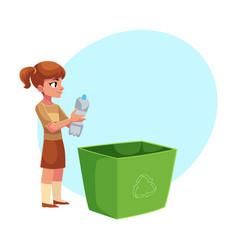 Girl throwing plastic bottles into trash bin vector