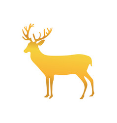 Gold reindeer animal to merry christmas vector