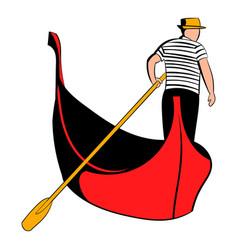 Gondola with gondolier icon cartoon vector