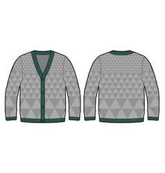 Grey knitted cardigan vector