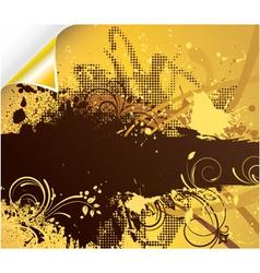 grunge floral background with corner vector image