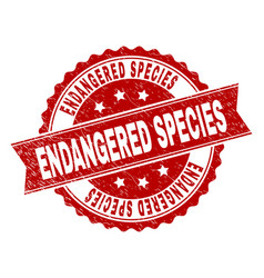 Grunge textured endangered species stamp seal vector