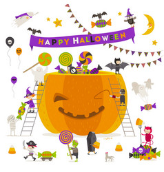 halloween group active halloween characters around vector image