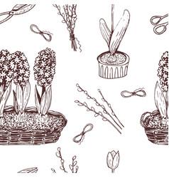 hand drawn ink vintage spring flowers pattern vector image