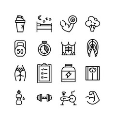 healthy lifestyle fitness line icons set vector image