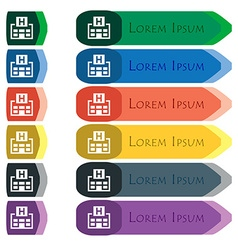 Hotkey icon sign Set of colorful bright long vector