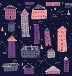 houses in mountains seamless pattern vector image