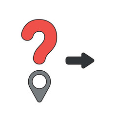 icon concept question mark and map pointer vector image