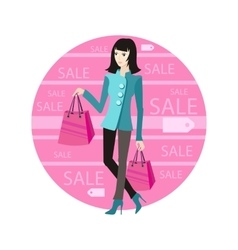 Icon sale woman with purchase vector