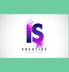 Is i s purple letter logo design with liquid vector