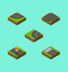 Isometric road set of strip crossroad navigation vector