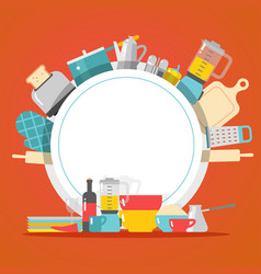Kitchen cookware dishes and appliances household vector