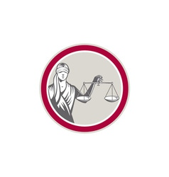 Lady Blindfolded Holding Scales Justice Circle vector