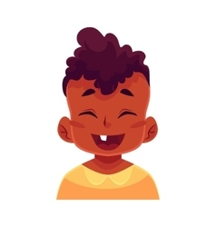 Little boy face laughing facial expression vector image