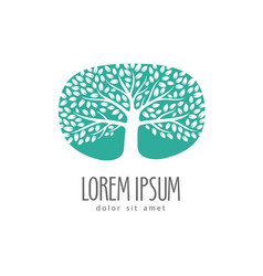 logo tree or label environment ecology nature vector image